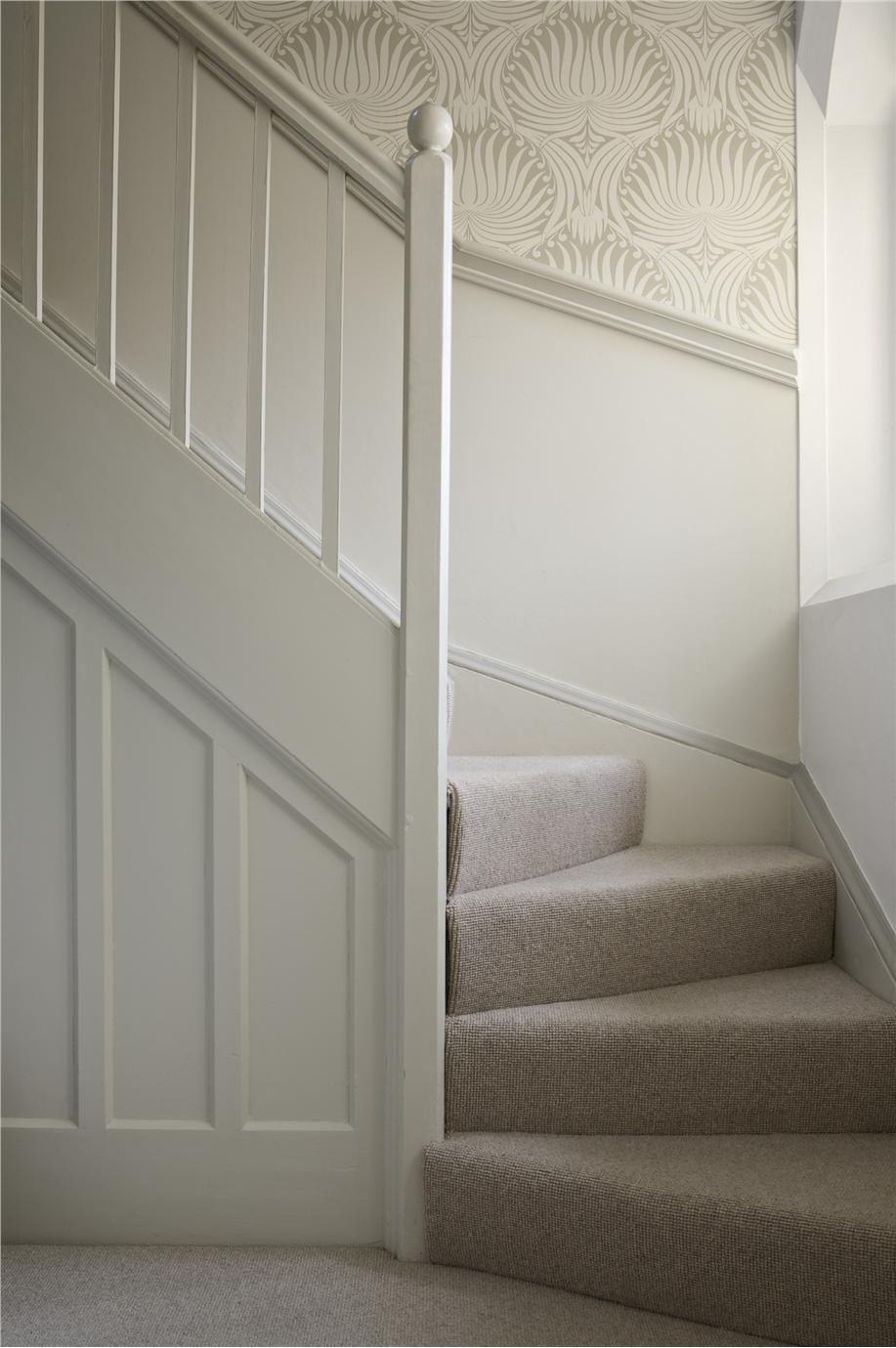 Hallway and stairs wallpaper  Farrow u Ball Inspiration    Pinterest  Farrow ball Lotus and