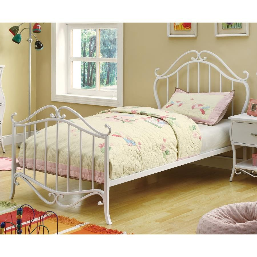 Bella Collection Twin Bed by Coaster White metal bed