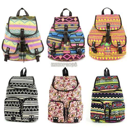 8ba4bd6d2c12 Fashion Women Girl Vintage Cute Flower Floral Bag Bookbag Backpack ...