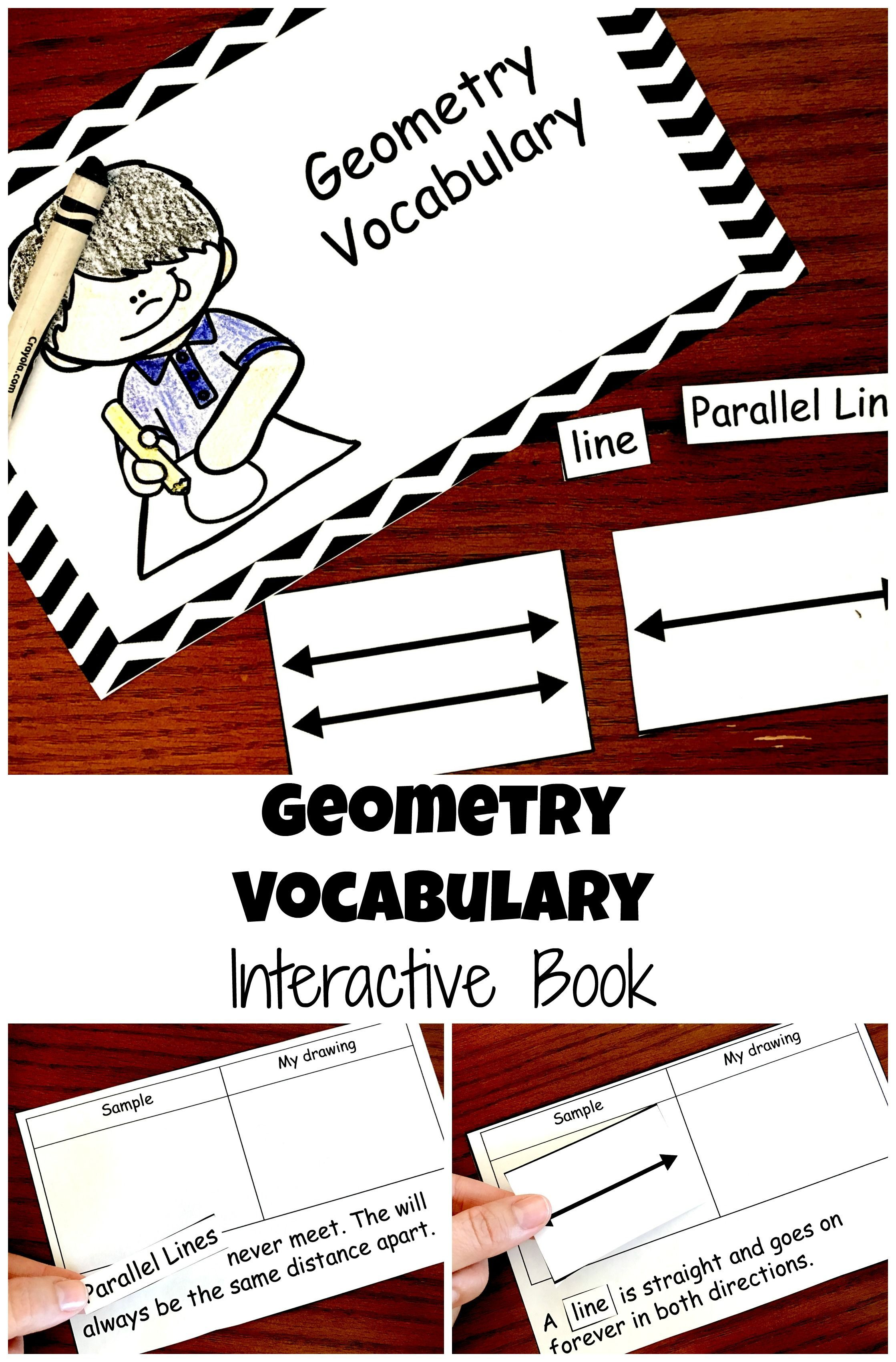 Free Geometry Vocabulary Interactive Book For Lines Rays