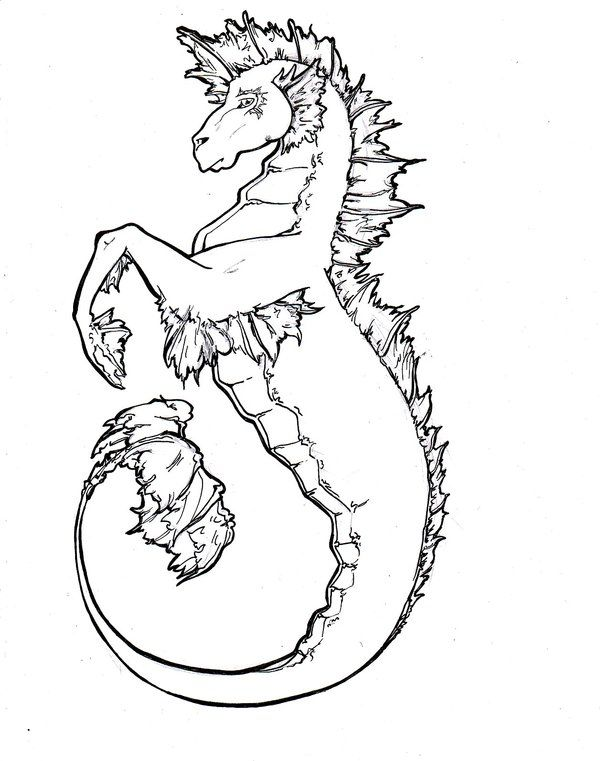 Hippocampus By Gwynhwyver On Deviantart Mythical Creatures Drawings Unicorn Coloring Pages Creature Drawings