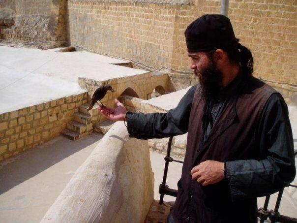The monk and the bird, St Sabba Monastery, Judaean Desert