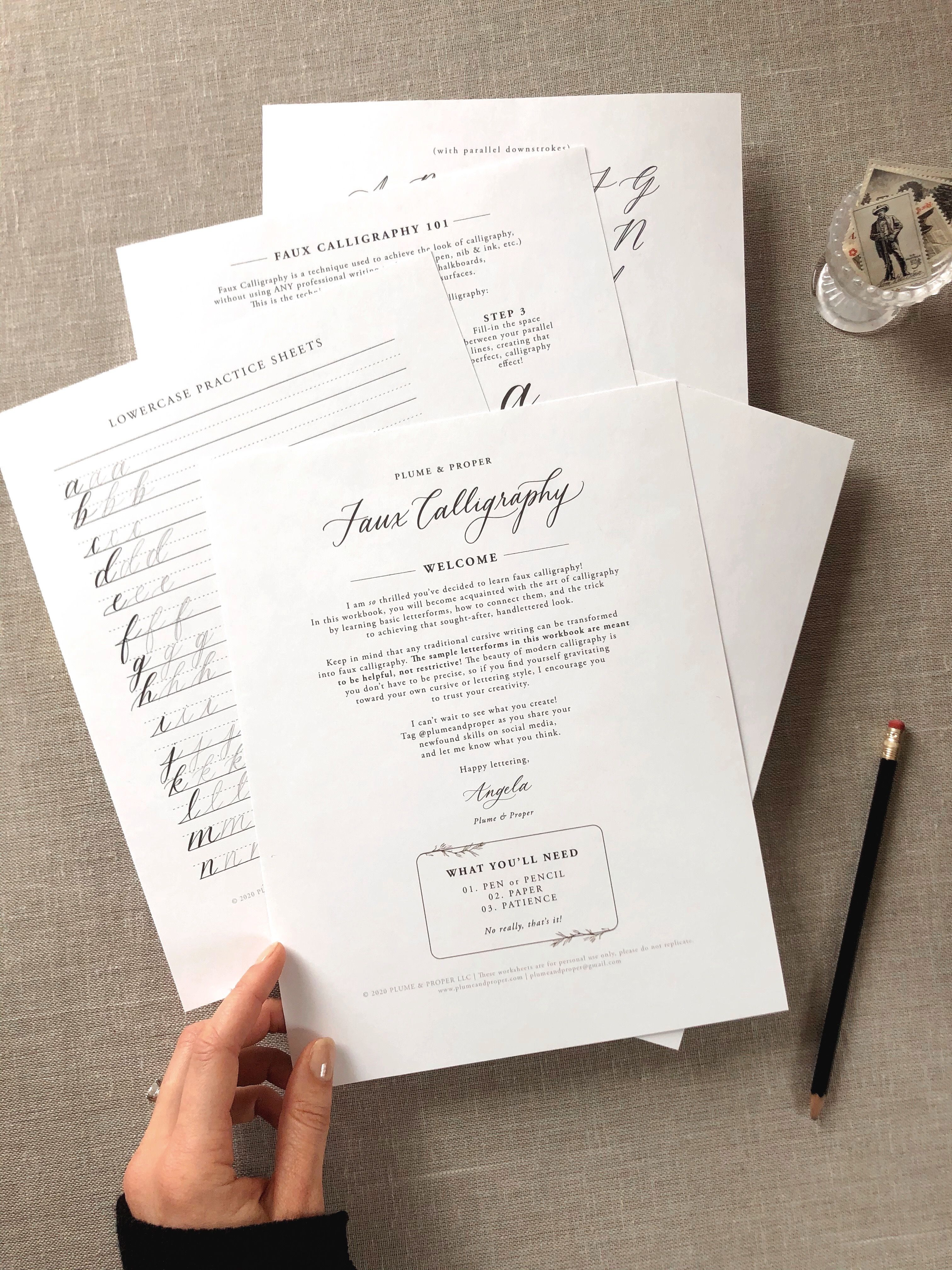 Printable Faux Calligraphy Worksheets