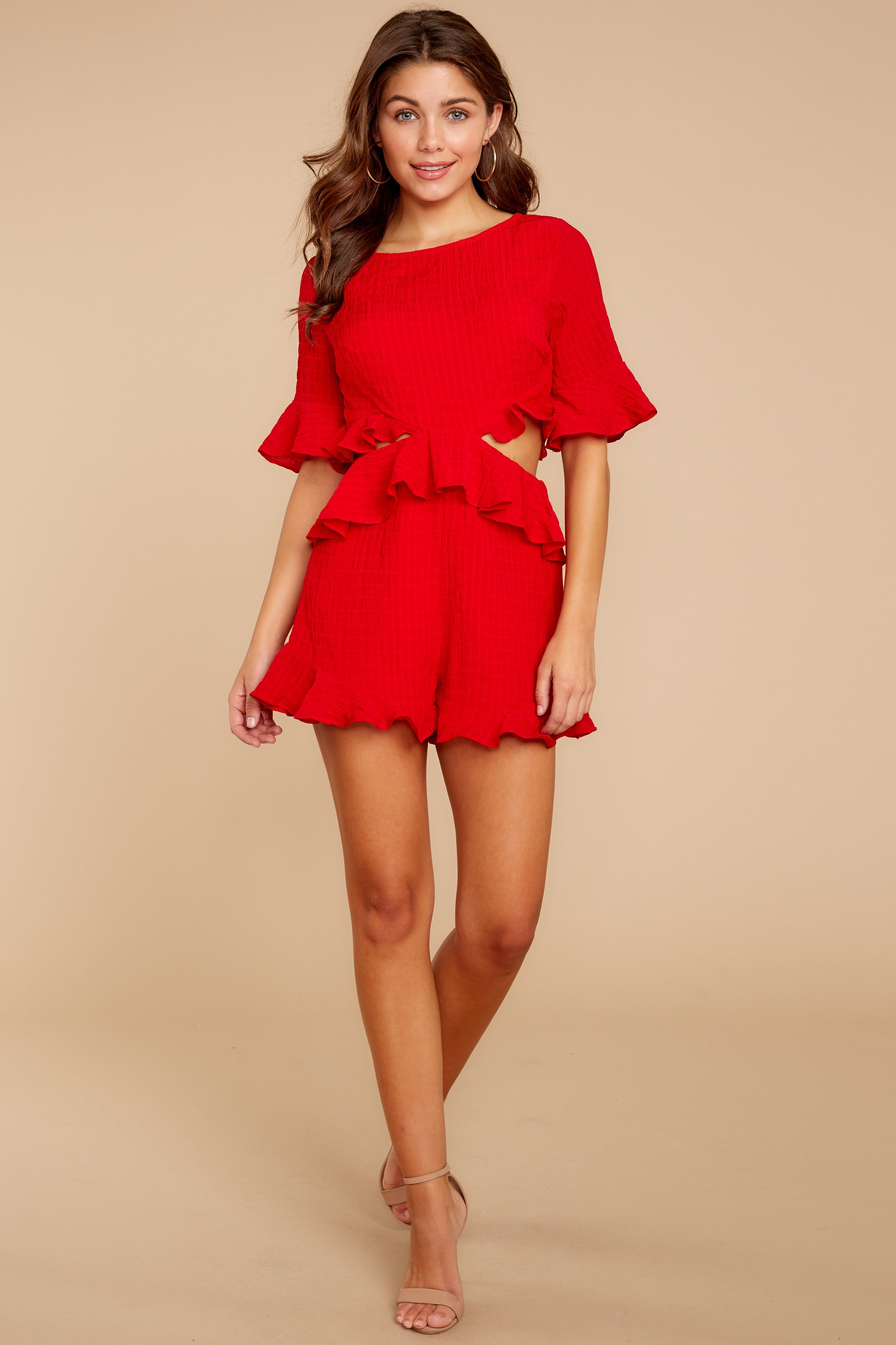 7746a3022a91 Flirty Red Romper - Trendy Short Ruffled Romper - Playsuit -  48.00 – Red  Dress Boutique