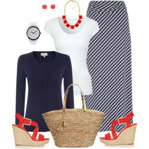 Navy and White With Poppy Red