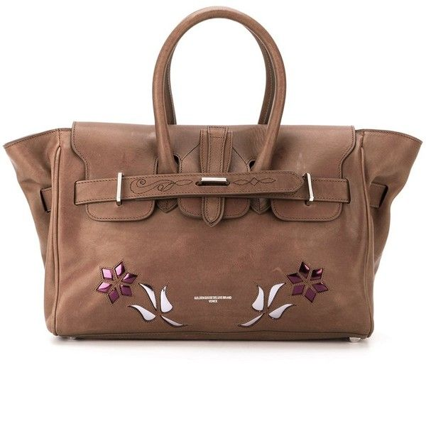 Golden Goose Deluxe Brand 'Pauline' tote (36,990 DOP) ❤ liked on Polyvore featuring bags, handbags, tote bags, brown, purses, brown leather handbags, leather handbag tote, brown tote, leather tote bags and leather tote handbags