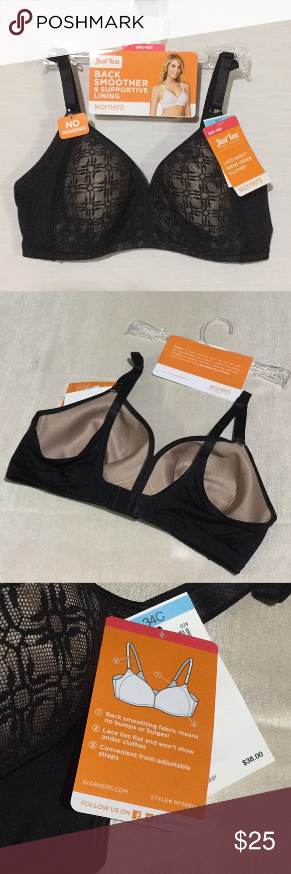 26c8e40a56e77 Warner s Just You Collection Unlined Wire-Free Bra Warner s Just You  Collection Back Smoother