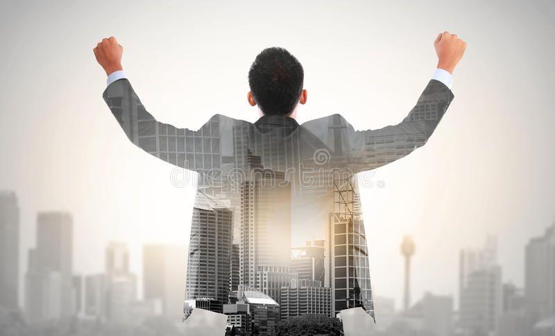 Success Business Man Raise His Hand Double Exposure Concept Of