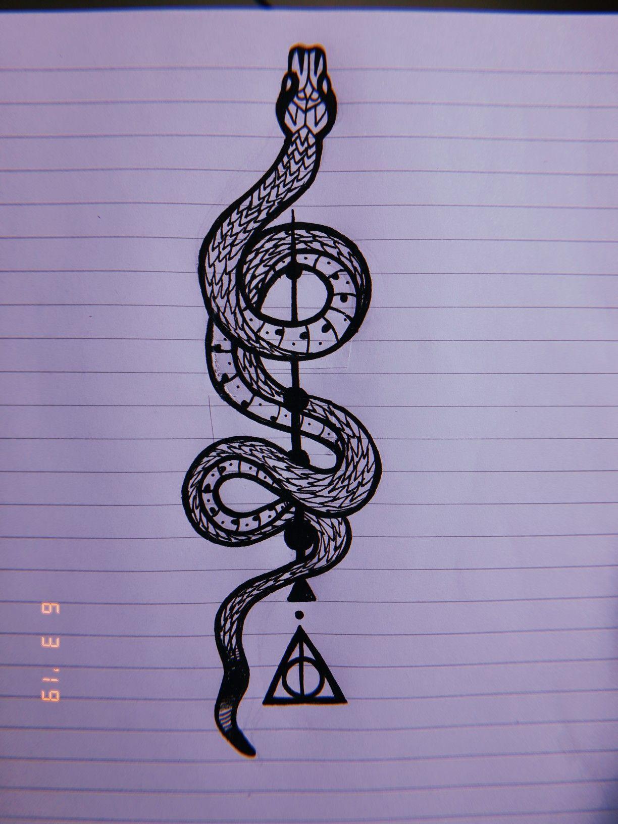 Harry Potter Snake Tattoo Harry Potter Tattoos Harry Potter Drawings Slytherin Tattoo