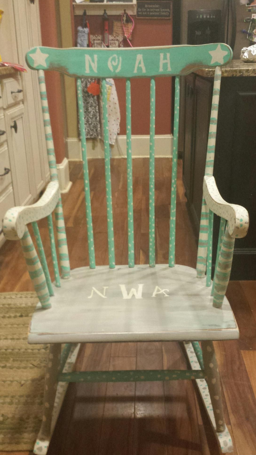 My first attempt at a rocking chair for our friends baby shower
