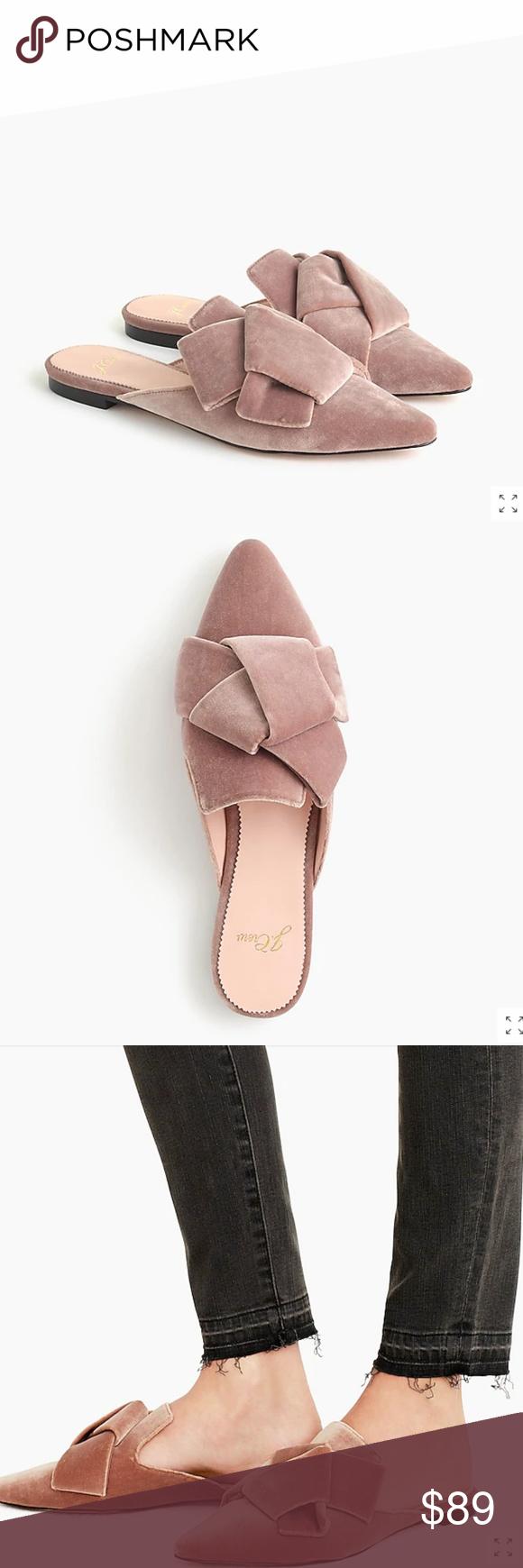 J.Crew Velvet Pointed Toe Slides Shoes