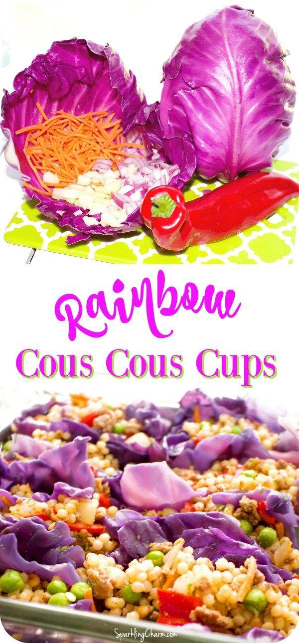 Rainbow Cous Cous Cabbage Cups #PrettyFood #Cabbage #PurpleCabbage #RainbowFood #BestRecipesOnPinterest