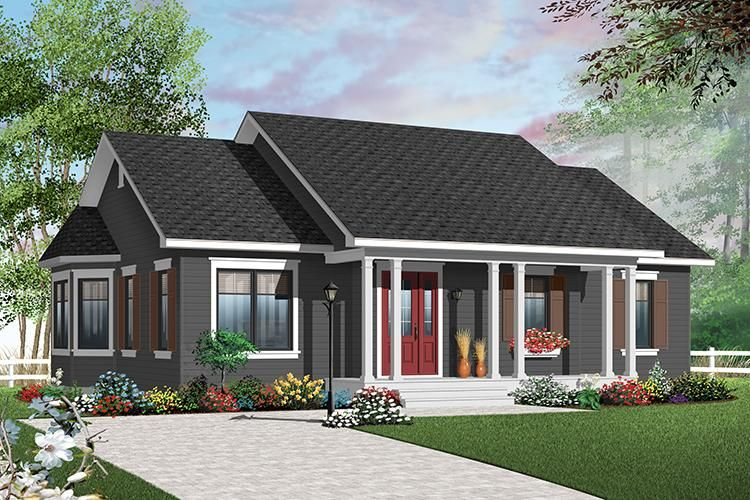 House Plan 034 00197 Country Plan 1 218 Square Feet 3 Bedrooms 1 Bathroom Arsitektur Modern Arsitektur Rumah Teras