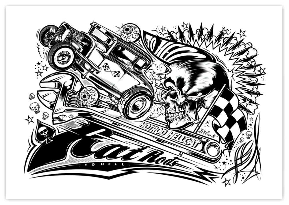 dvicente art rat rods to hell for hotrod hellcat