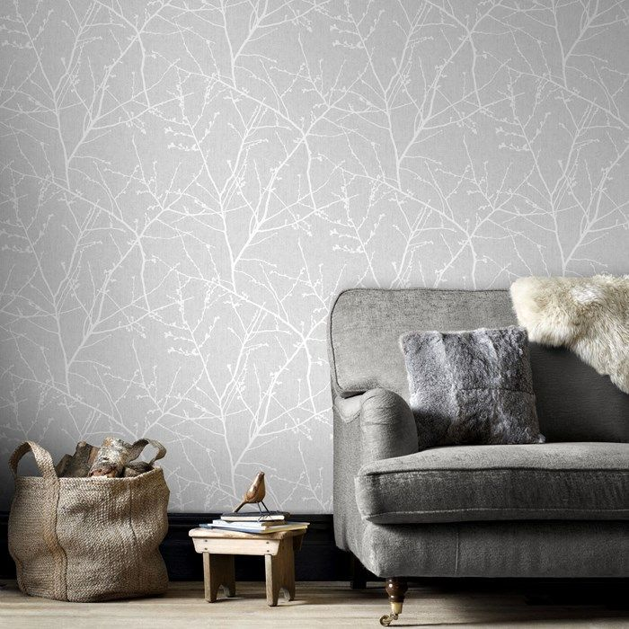 Innocence grey wallpaper by graham and brown woonideeen for Grey feature wallpaper bedroom