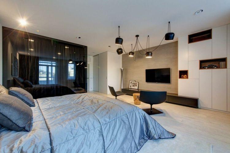 wohnung-einrichten-grau-schlafzimmer-tagesdecke-lowboard-dunkel - wohnung einrichten grau