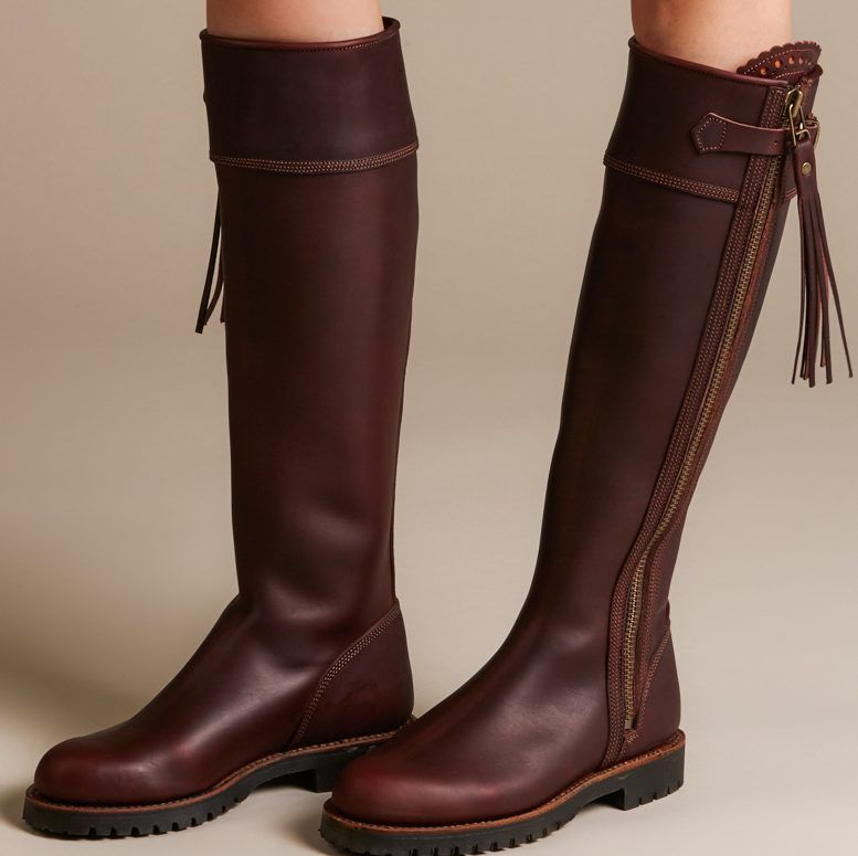 camel long boots women flat sole