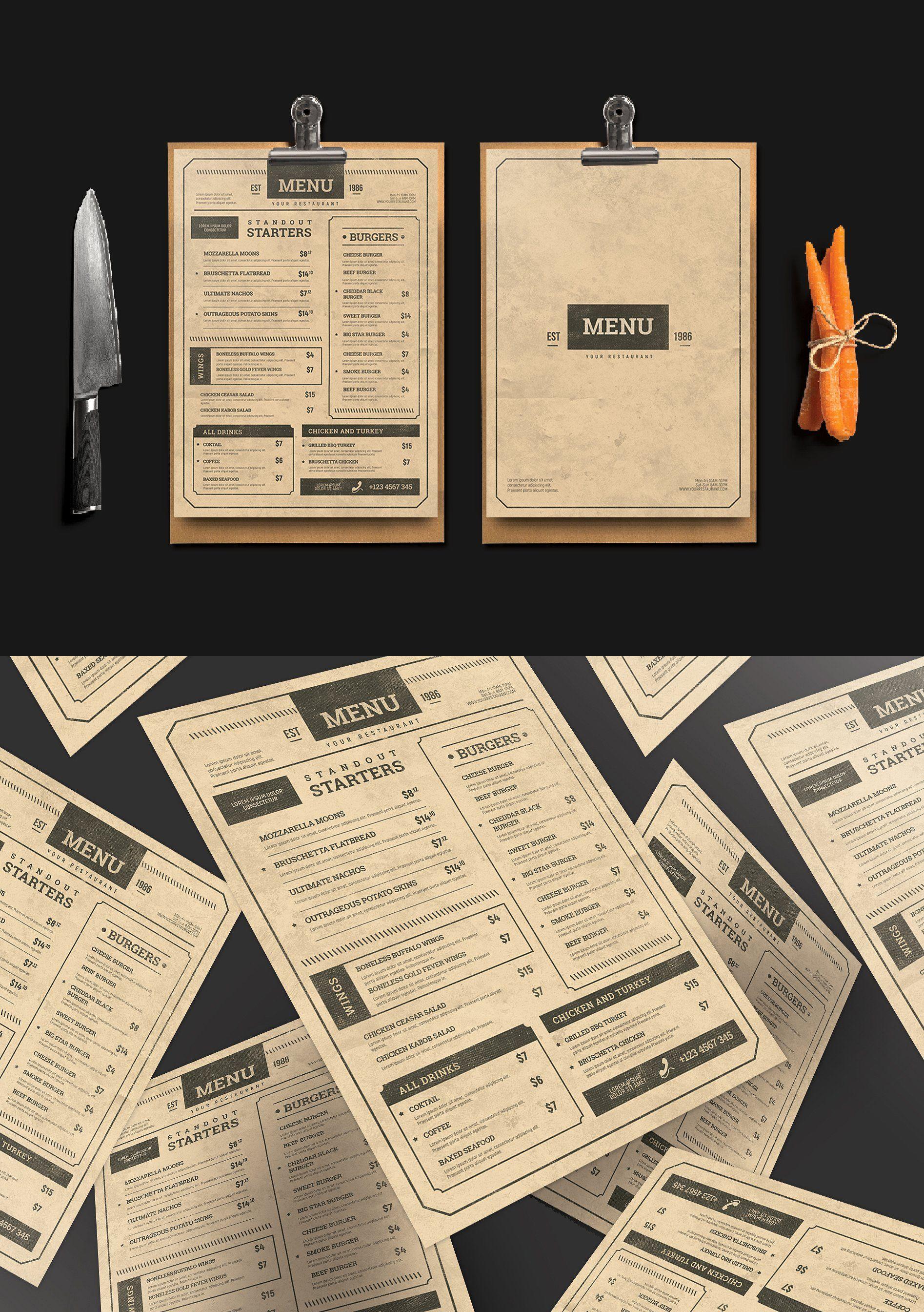 Vintage Menu Vintage Menu Menu Card Design Menu Template Word