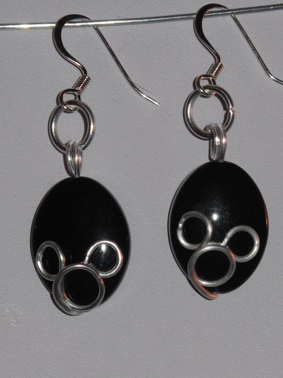 Wire Wrapped Black and Silver Mickey Mouse Earrings by 1ofAkinds, $10.00