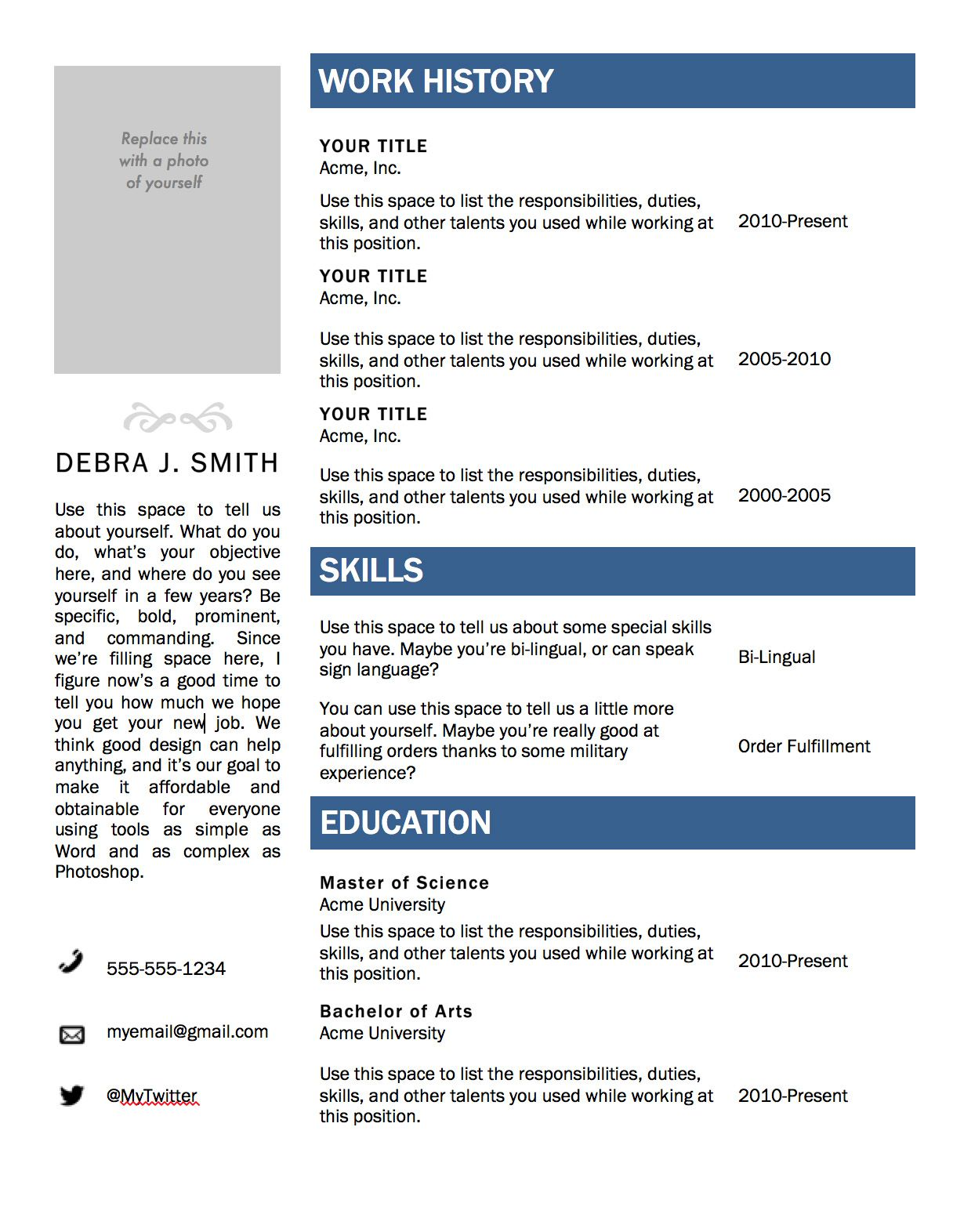 microsoft word templates resume