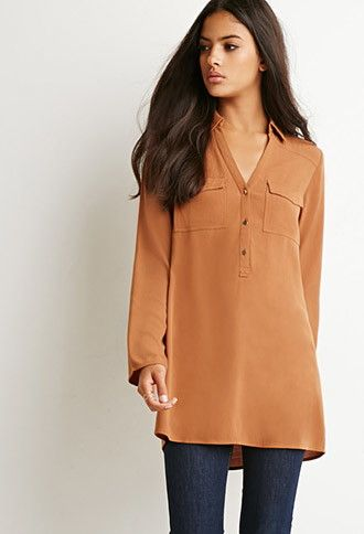 Flap-Pocket Shirt Dress | Forever 21 - 2000173075 Love the color and the length. Would throw this over some leggings, ALOT.