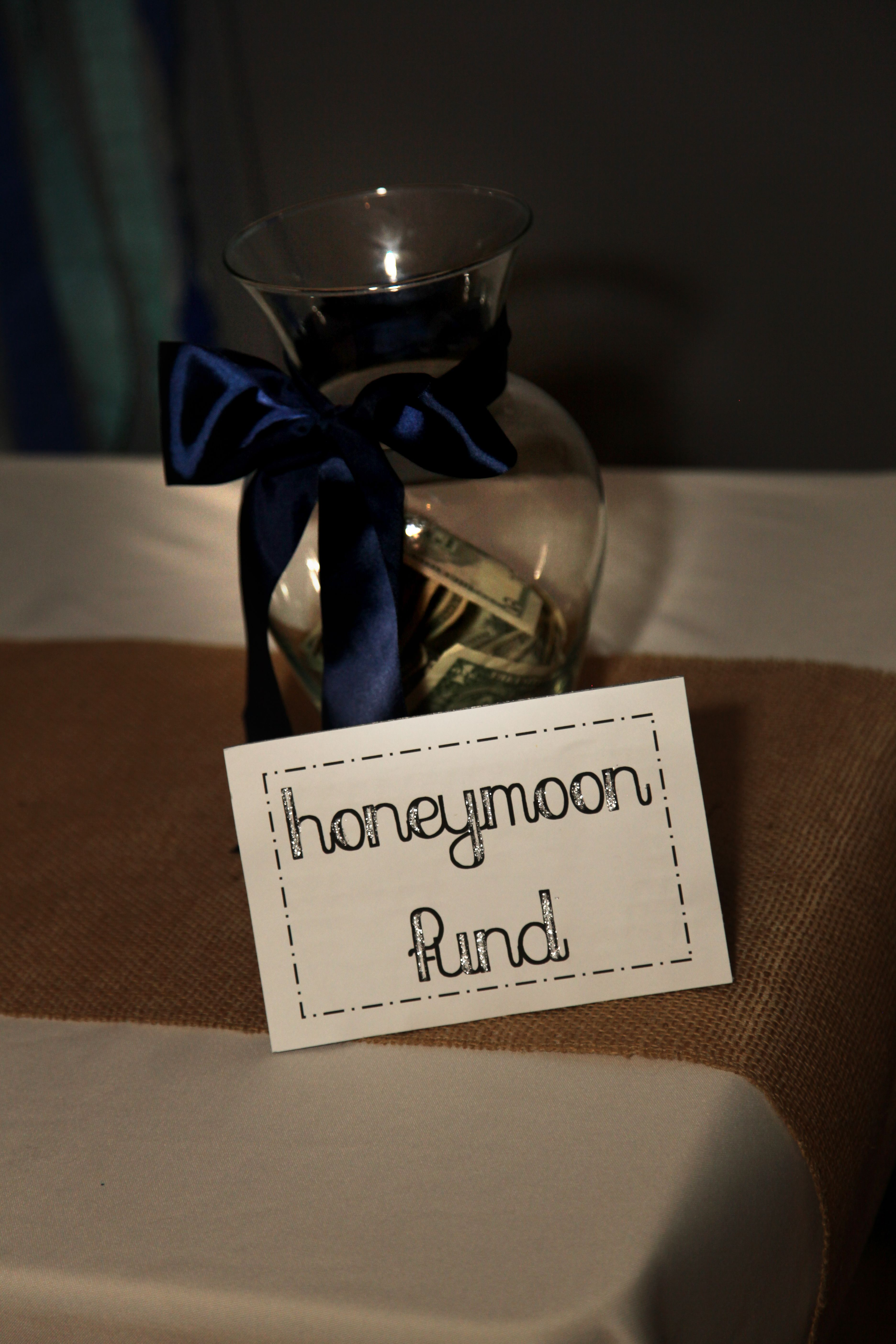 honeymoon fund jar at reception | wedding ideas in 2018 | pinterest