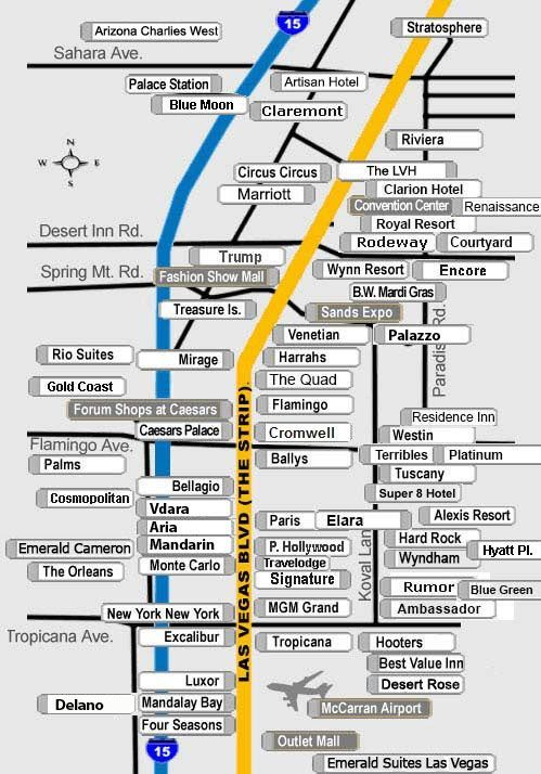 Map Of Las Vegas Strip Hotels And Surrounding Areas Direct Hotel Reservations