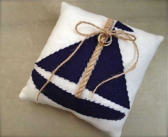 Nautical wedding ring pillow sailboat nautical von EandAHeritage, $67.00
