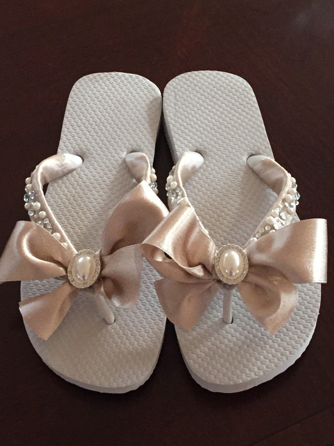 3ccd87ae211edb Bridal Flip Flops Wedges Shoes. Wedding Flip Flops.Bridal Bowz Flip Flops.  Ivory Flip Flops. Destination Wedding. Mother of the Bride