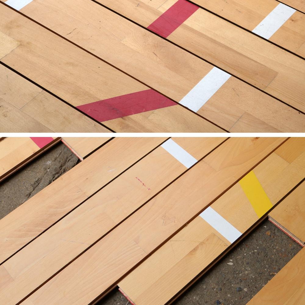 Reclaimed Beech Gymnasium Flooring 13 W x 2.2 Thickness