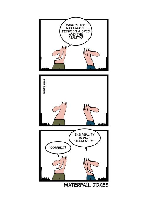 Waterfall jokes | caramel pictures | Project management, Programmer