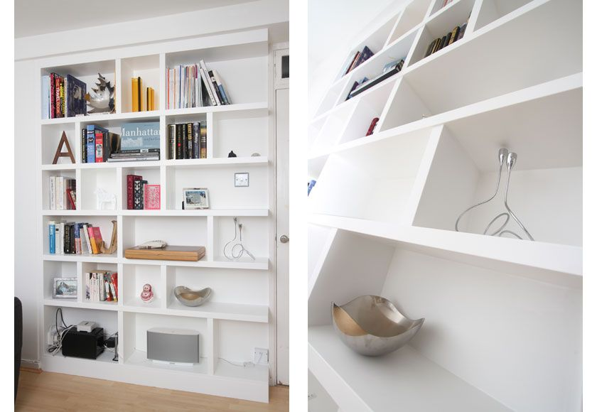 White contemporary fitted shelves made by custom carpentry - Modern white shelving unit ...