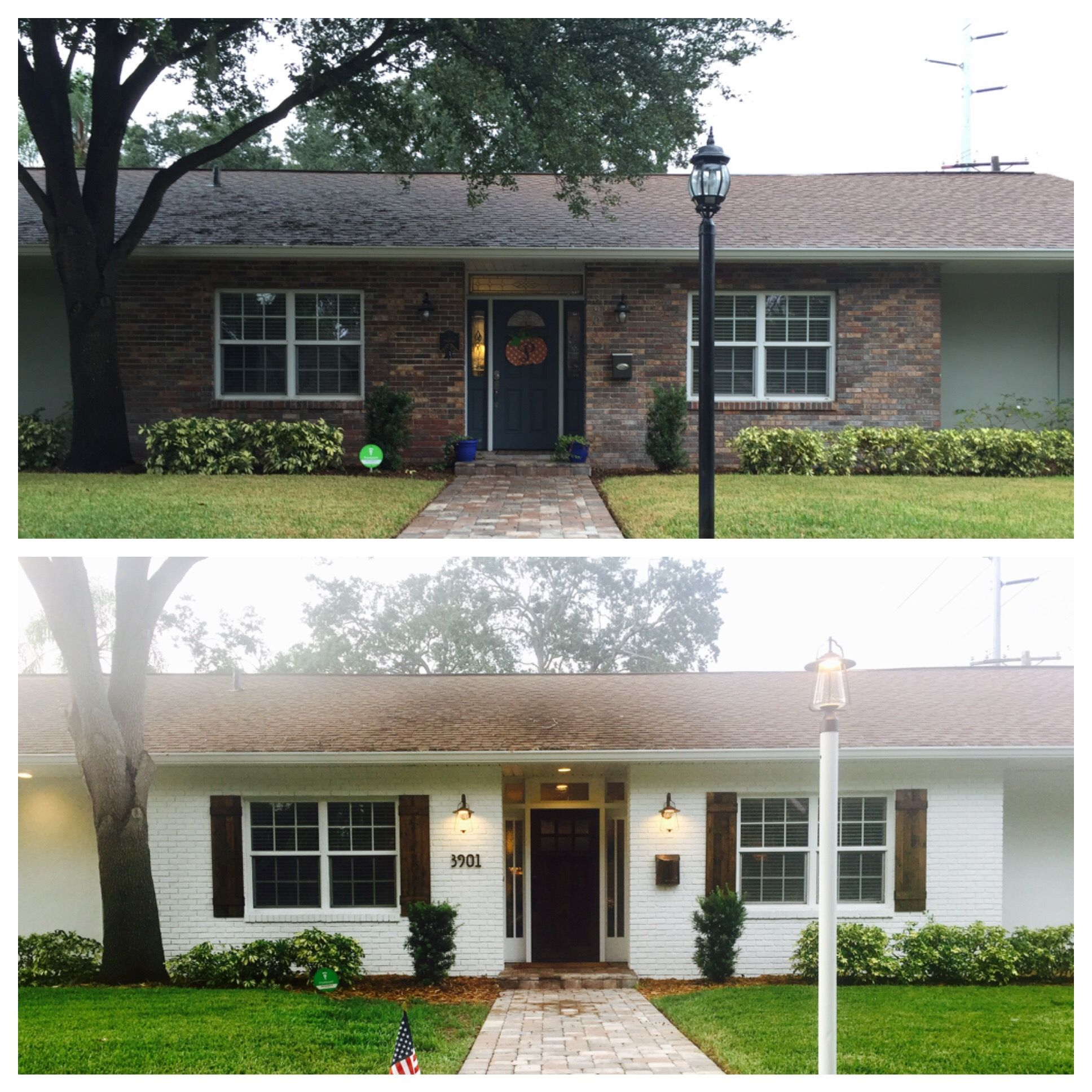 Paint Over Brick Ranch House Remodel Brick Exterior House Ranch House Exterior