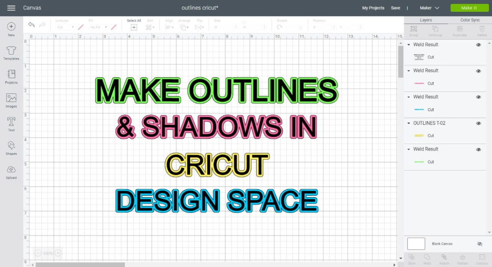 How To Make Outlines Shadows To Use In Cricut Design Space Cricut Design Cricut Outline