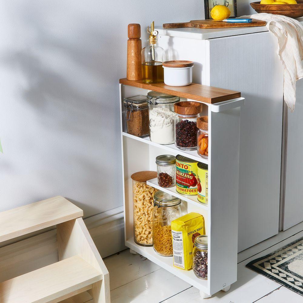 Yamazaki Wood Steel Slim Storage Cabinet White Black In 2020 Slim Storage Cabinet Diy Kitchen Renovation Diy Storage Cabinets