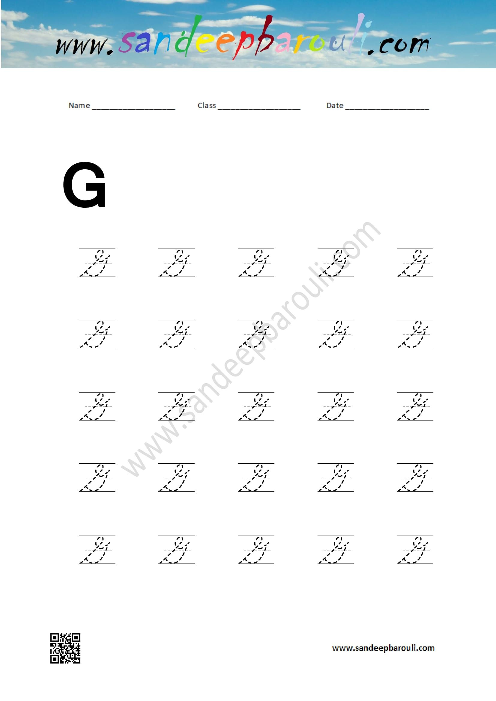 Cursive Writing Worksheet For Capital G Educational