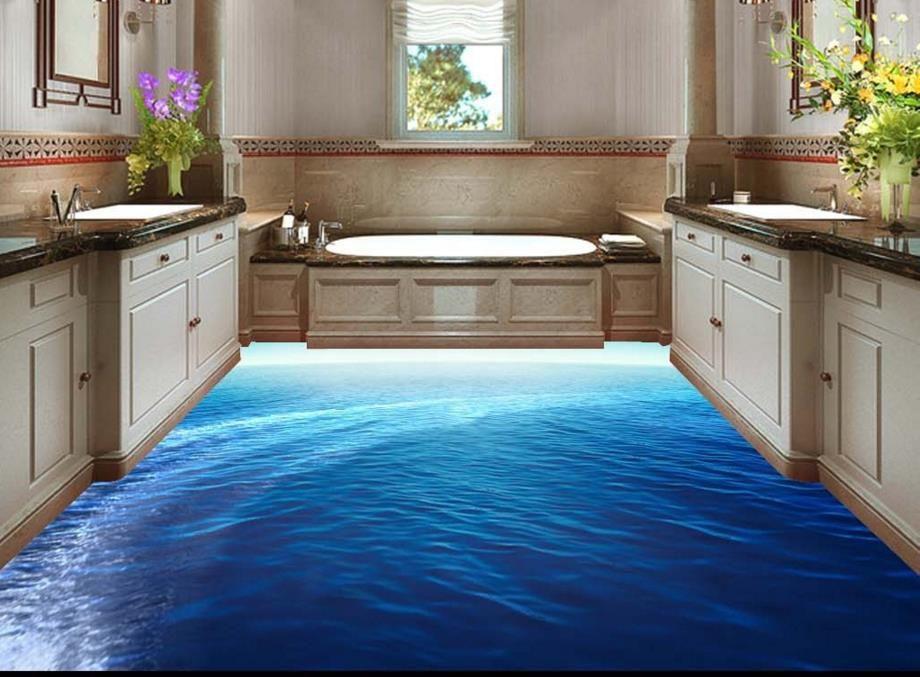 3d Floor Tiles Sea Custom Wallpaper 3d Floor Waterproof Weae Non Slip Tile Floor Flooring Tile Wallpaper