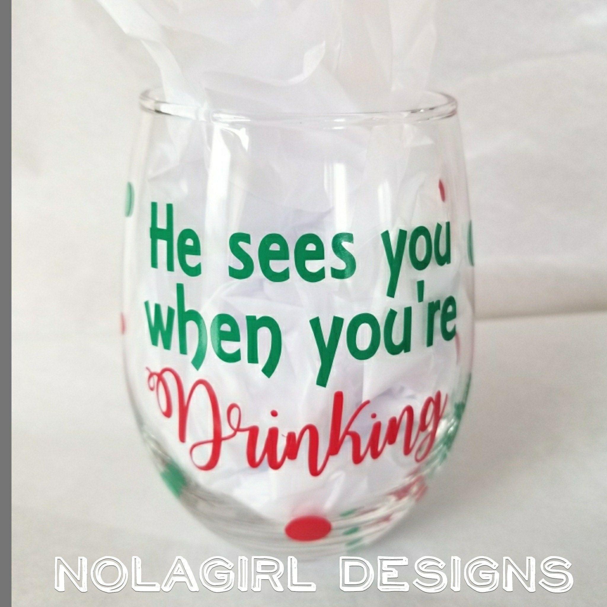 Christmas, wine glass, Christmas Party Favor, Jingle Juice ...