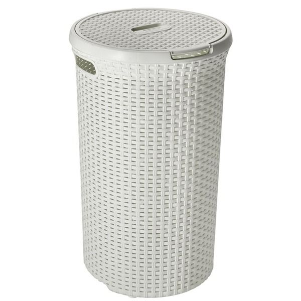Ref 00710 White Wicker Laundry Basket Laundry Bin Laundry Basket