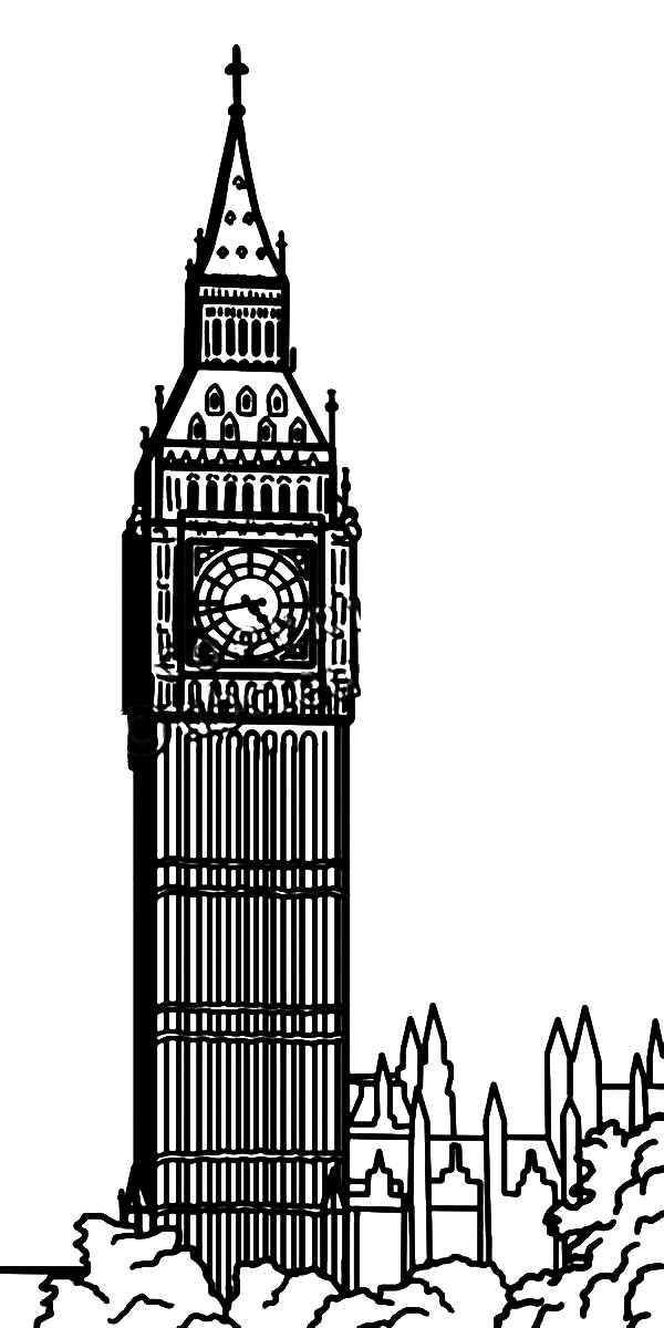Clock Tower Coloring Pages For Kids Netart In 2021 Big Ben Coloring Pages For Kids Clock Tower