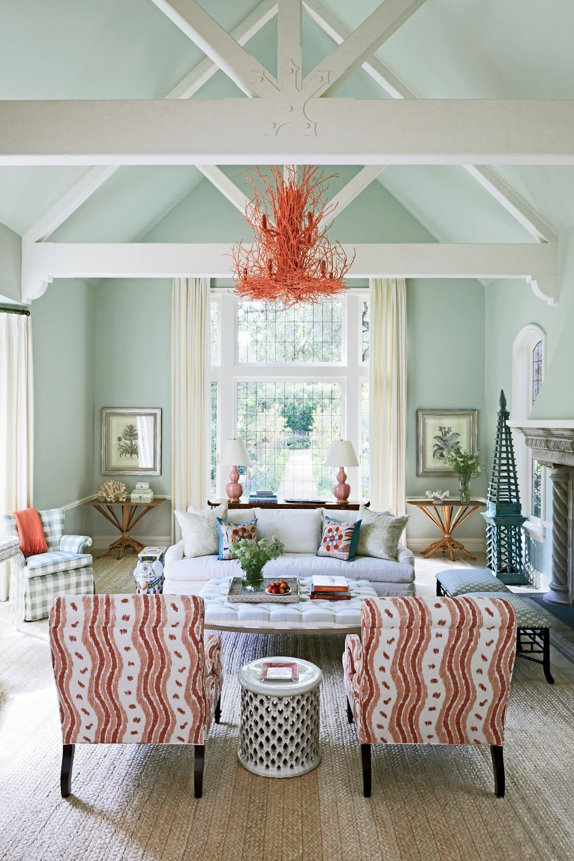 A cool mint blue lights up the walls of this Montecito, California ...