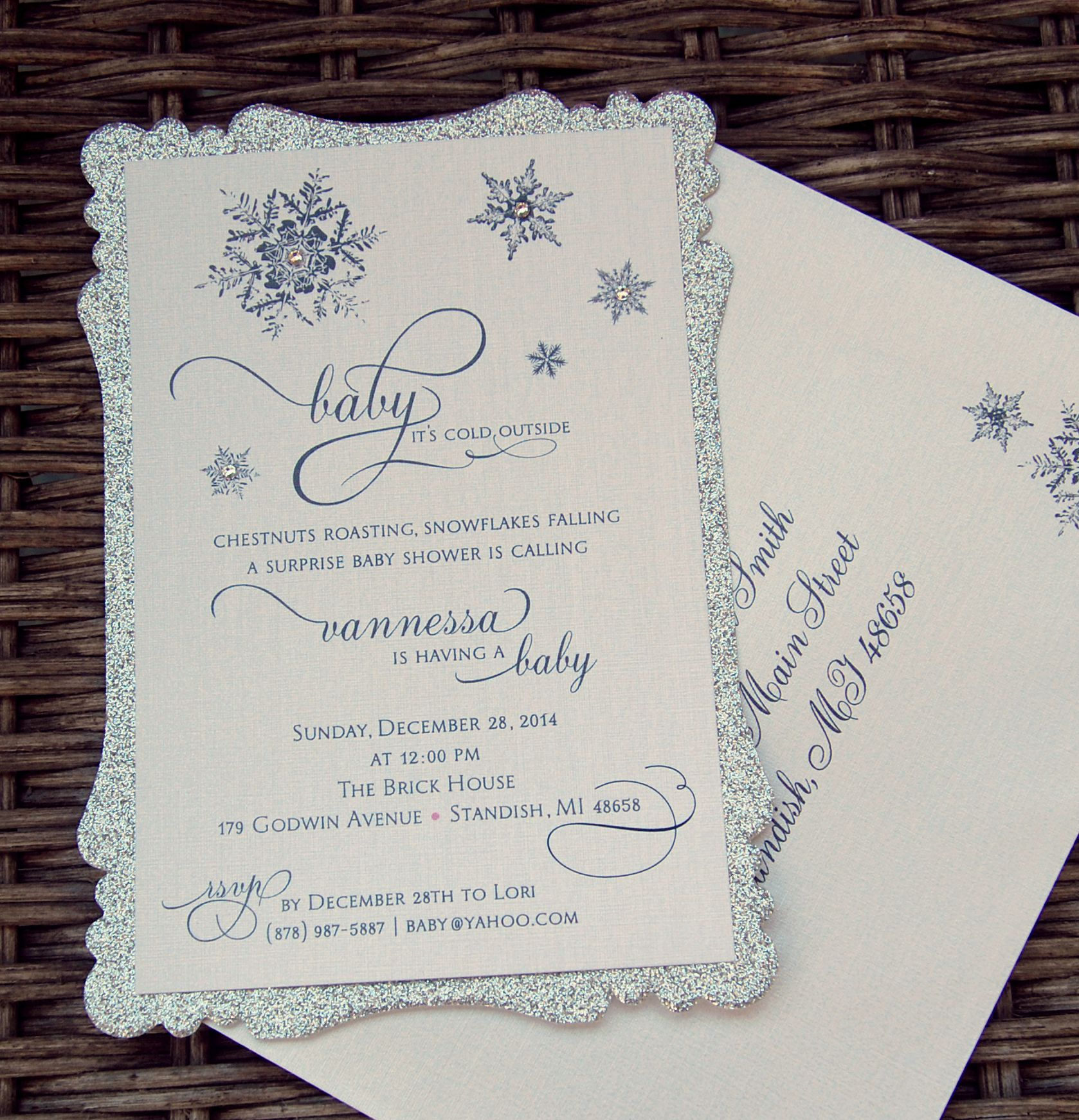 Die Cut Sparkle Silver Snowflake Invitation with Swarovski Crystals ...