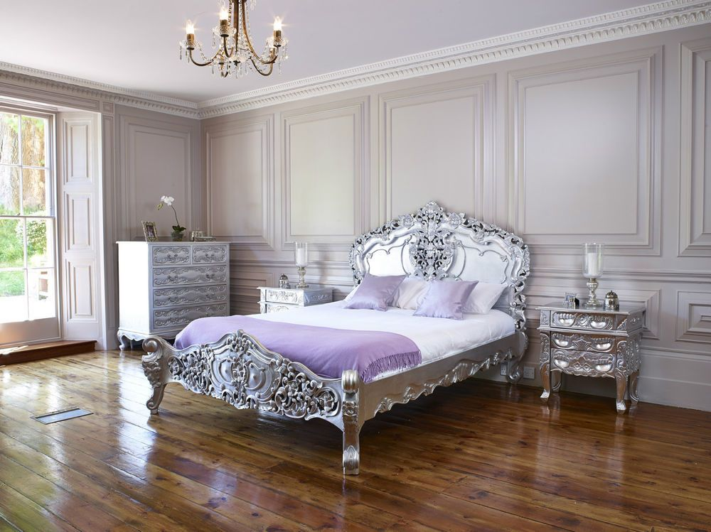 Silver leaf French Italian Rococo Bed King Size Shabby Chic, Louis ...