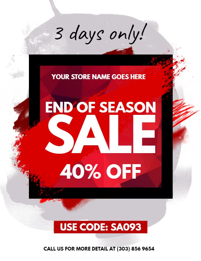 End of season sale flyer template Retail Flyer Templates