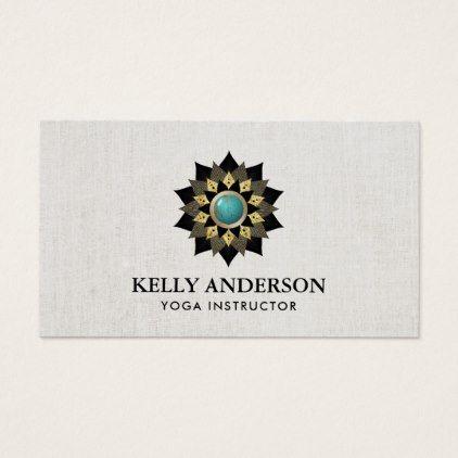 Yoga instructor black gold turquoise lotus flower business card salon yoga instructor black gold turquoise lotus flower business card reheart Images