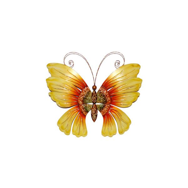 Hand-painted Multi-colored Metal and Capize Butterfly Wall Art ...