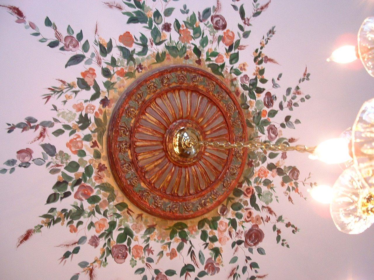 Beautiful floral mural around custom painted ceiling ...