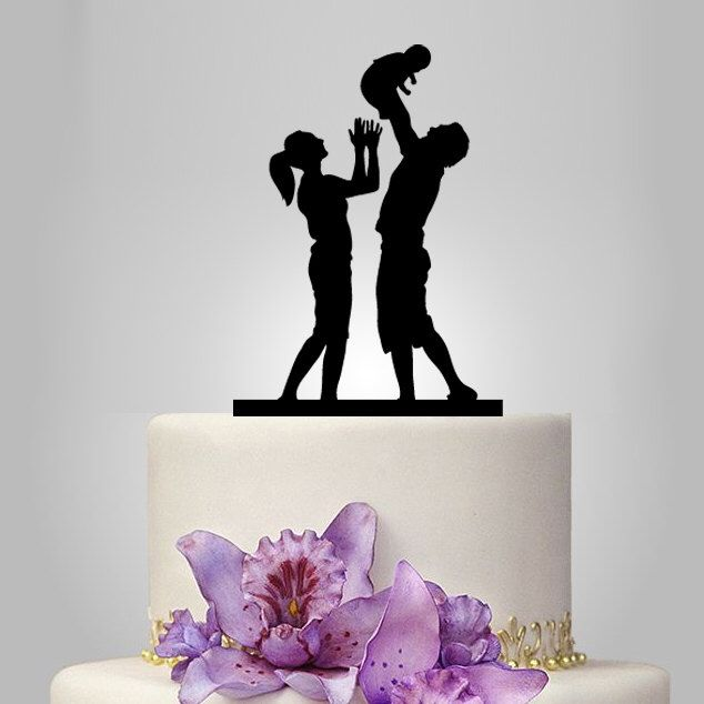 acrylic wedding cake topper, family topper, baby cake topper, groom and bride silhouette cake topper, funny cake topper by walldecal76 on Etsy https://www.etsy.com/listing/224815987/acrylic-wedding-cake-topper-family