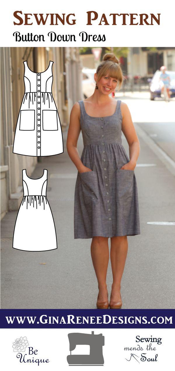 Button Down Dress - Midi Dress Pattern #sewingprojects