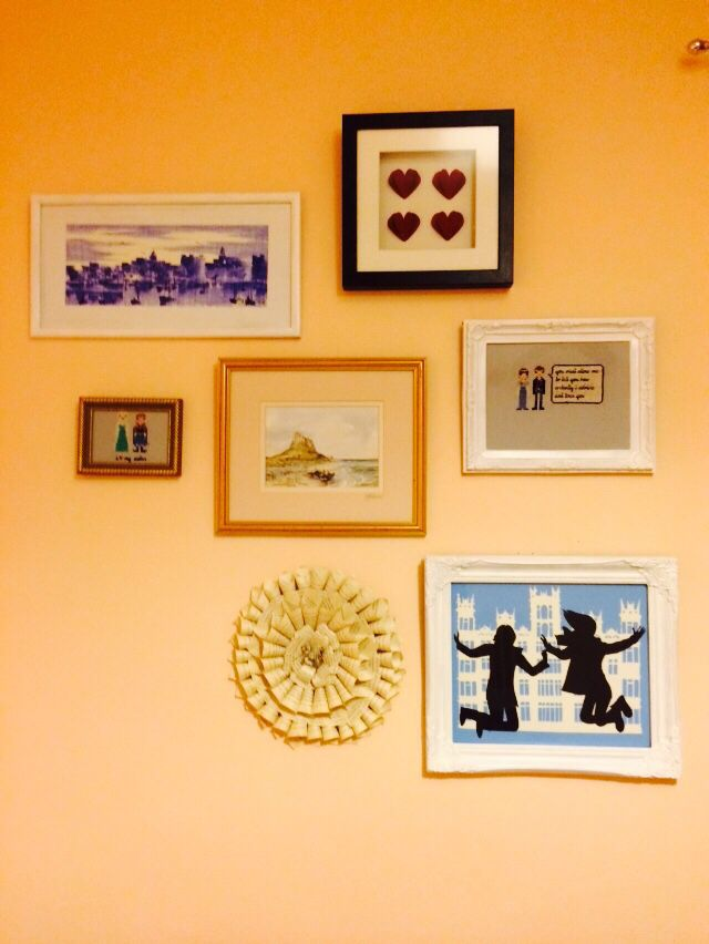 Mismatched art wall in our spare room made up of pieces we made ...